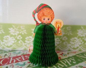 Vintage 1980 Christmas Decoration Bell Beistle Honeycomb Table Centerpiece