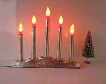 Vintage Mid Century Christmas Lights Display Decoration Candelabra Electrical Window Candles