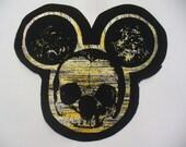 Foiled Denim Mickey Skull Patch