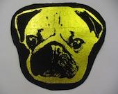 Foiled Denim Pug Patch