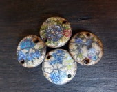 Rustic polymer clay connectors with mix blue rose decals and crackle. Set of four (4) handmade artisan art beads