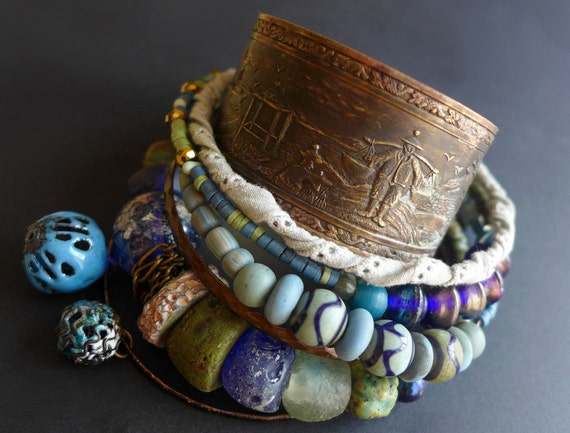 Underwater Tribute. Tribal gypsy bangle stack in blues and greens.