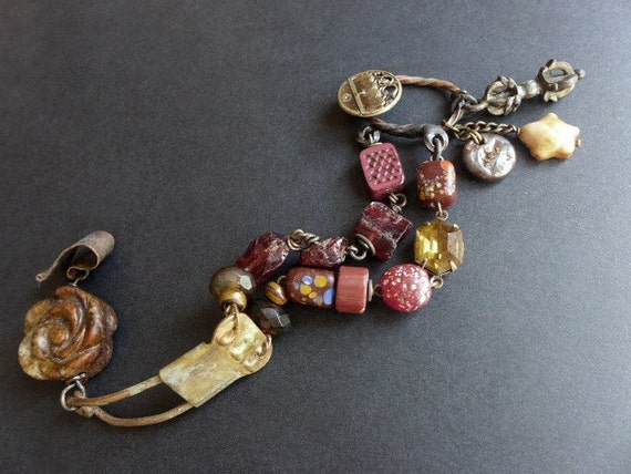 That Dark Thread of Sadness. Victorian tribal rustic assemblage bracelet with garnet.