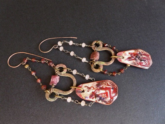 No Greater Agony. Rustic pink red earrings torch enamel, garnet, raw rubies.