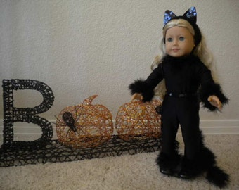 4-pc  Black Cat Halloween Costume for 18 inch Doll