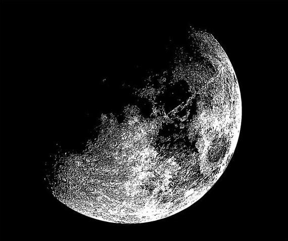 half moon art printable celestial digital graphics image download art astronomy space printables black and white art