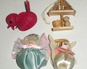 Vintage Small Christmas Ornaments - Red Bird - Birdhouse - Angel Ornaments - Small Wood Ornament - Foam Ornaments - Christmas Decor