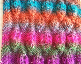 Funky color lace hand knit shawl