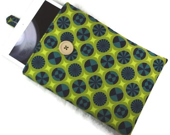 Ipad mini padded sleeve navy lime green RTS, small tablet case, ereader cloth cover, loop button closure, women gift cotton fabric pouch
