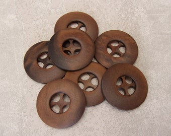 Brown Sewing Buttons 28mm - 1 1/16 inch Retro Wheel Sepia Brown Vintage Buttons - 7 VTG NOS Dark Brown Satin Finished Plastic Buttons PL145