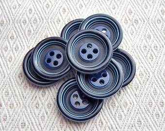 Striped Blue Buttons, 3/4 inch - CHOOSE 19mm, 20mm - Lapis Blue Bull's Eye Sewing Buttons - 8 VTG NOS Blue Retro Ring-Around Buttons PL235