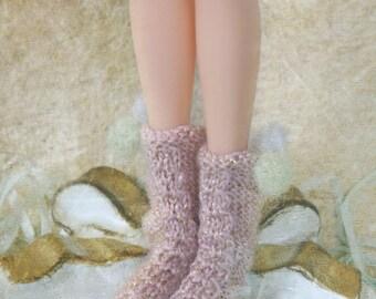 jiajiadoll- Hand Knit- Flowers First love shinning pink twist pompom socks fits momoko- blythe -Misaki- Unoa light- Lati yellow
