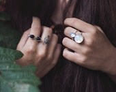 Moonstone ring, three stone ring, 925 sterling silver, statement ring // LUNA LUX RING