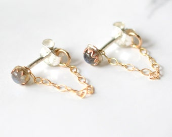 Labradorite, chain studs, tiny studs, stud earrings, 14k gold, brass, sterling silver // APOLLO STUDS