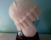 Ear Flap Helmet Hat Winter Style Bulky Adult Size Seamless Knit Cap Handmade Unisex Noggin Warmer Textilesone Original Design Ready to Ship