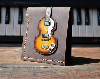 Custom Hand Stitch Men Wallet Höfner Bass Guitar