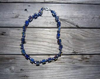 Blue Cane Glass Necklace
