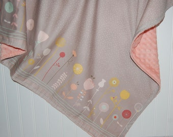 Baby blanket- littlest floral in gray, pink minky- baby girl blanket- minky baby blanket