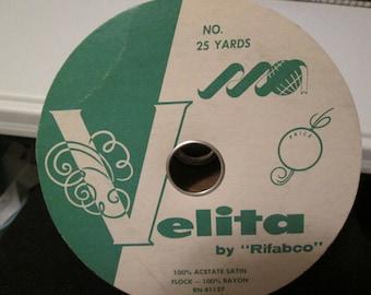 Vintage--VELITA--Wide Velvet Ribbon--Trim--Navy Blue--Full Spool--25 Yards--By Rifabco--Unused