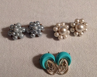 3--Vintage Pairs--Clip Style Earrings--White Pearl Cluster--Blue Pearl Cluster--Turquoise & Gold Abstract