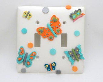 Butterflies Orange, Turquoise, and Gray - Double Light switch cover