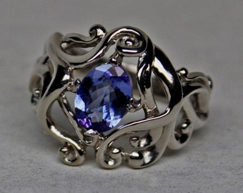 Celtic Nouveau  Ring in 14k Palladium White Gold Set with a Natural Tanzanite size 7