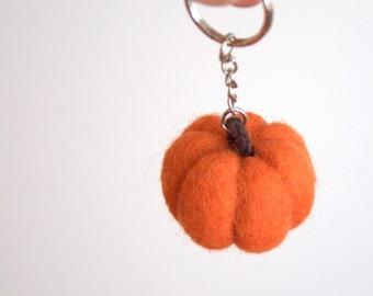 Autumn felted pumpkin keychain bag charm zipper charm felt wool teal orange pumpkin handmade keyring decoration ornament gift