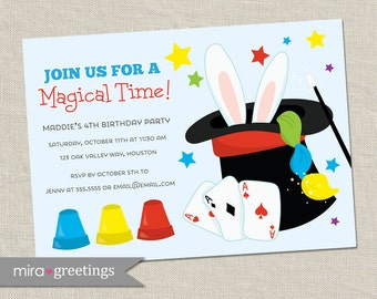 Magic Birthday Party Invitations - Printable Digital File