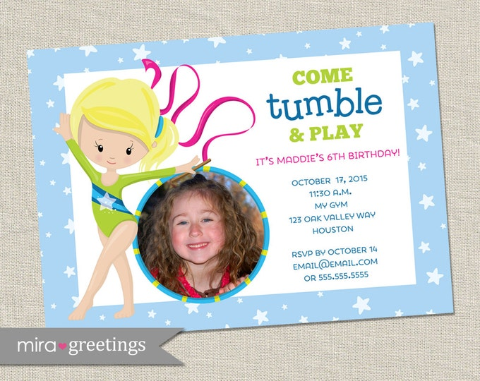 Gymnastics Birthday Party Invitation - Printable Digital File