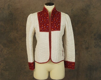 vintage 1970s Quilted Jacket - 70s Red and White Prairie Quilt Coat Sz S M