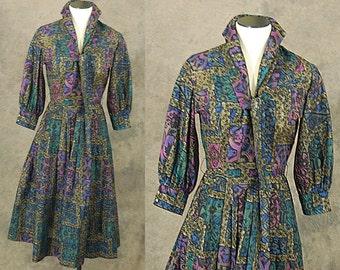 vintage 50s Shirtwaist Day Dress - 1950s Batik Print Ascot Tie Dress Sz XS
