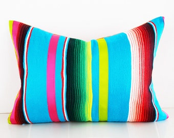 Bohemian Pillow Cover, Bright Boho Pillow, Unique Mexican Pillow, Colorful Serape Pillow Case, Multicolor Striped Lumbar Cushion, 14x20, NEW
