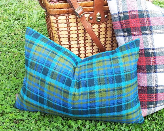 Eclectic Mix Of Pillows : Teal Plaid Pillows 18x18 Rustic Plaid Pillow Covers Vibrant