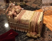 Gorgeous Designer made dressed bed for miniture doll house.  By Kelly Curtis NEW