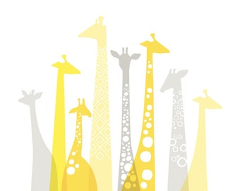 """14X11"""" Giraffe silhouettes landscape giclee print on fine art paper. Yellow and gray."""