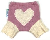 "WOOL SHORTIES - Wool Diaper Cover - ""I Heart You"" - X-Small Newborn"