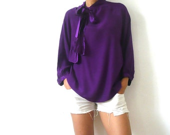 French Vintage Deep Purple Silk Blouse