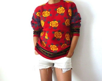 French Vintage Red Chuncky Knit with Yellow Roses Sweater
