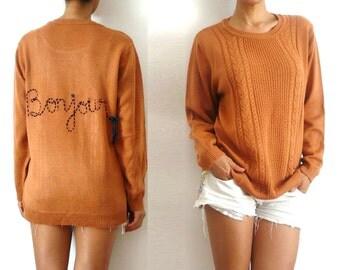 BONJOUR Customized Burnt Orange Wool Sweater