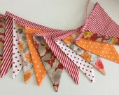 Red Orange Floral bunting - bright shades for Fall, Fabric Garland, Wedding Bunting,