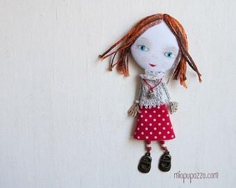 New Look! Big Head Girl, Art Doll Brooch