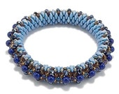 Beaded Bangle Kit, Super Duo Beads, Crystals, Seed Beads and Instructions, Blue Hue