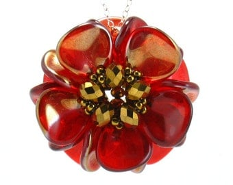 Red and Gold Flower Pendant Necklace, Magnolia Bloom, Passion