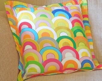Rainbow Cushion, Handmade in a Bright Cotton Rainbow Print with Satin Stitch embroidery, 21 inch x 21 inch, 53 cm x 53 cm