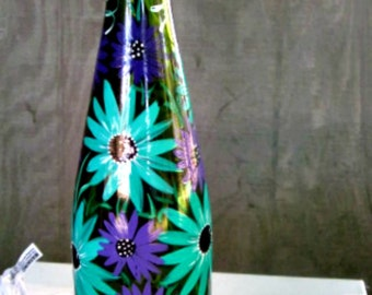 Wine Bottle Light, Night Light, Hand Painted Wine Bottle, Green Wine Bottle with Teal and Purple Flowers