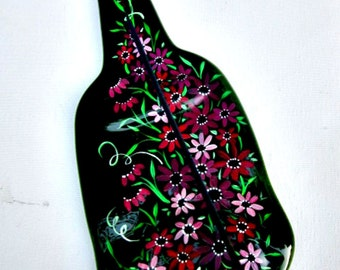 Incense Burner,  Recycled Dark Green Wine Bottle, Melted Bottle Incense Holder,   Hand Painted Red and Mauve Flowers