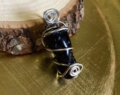 BLACK TEKTITE Intuitively Wire Wrapped Pendant In Silver Finished Copper - Space Glass - Metaphysical - Energy - Cosmos - Healing - Magick