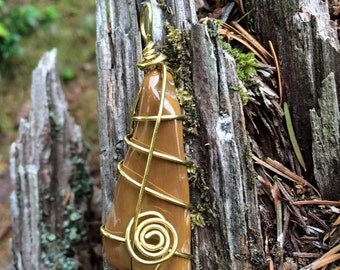 Spiral and Swirl Wire Wrapped PETRIFIED WOOD Pendant In Brass - Metaphysical - Healing - Magick - Earth Energy - Mother Goddess - Forest