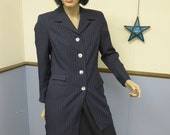 Vintage 1980s Pin-striped Blazer/ Suit Jacket with Satin Lining and Shell Buttons Size 10