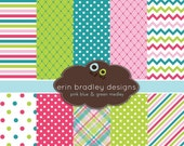 60% OFF SALE Digital Paper Pack Personal and Commercial Use Pink Blue and Green Medley